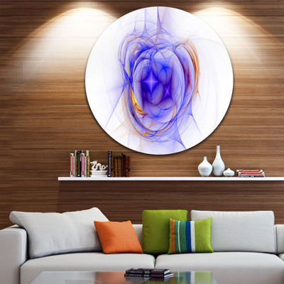 Design Art Blue Bright Star Nebula Abstract CircleMetal Wall Art