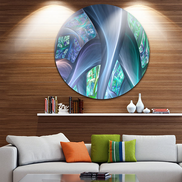 Design Art Blue Fractal Exotic Plant Stems Abstract Round Circle Metal Wall Art