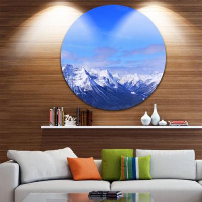 Design Art Blue Winter Mountains Disc Landscape Photography Circle Metal Wall Art