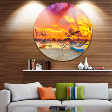 Design Art Boat at Sunset Panorama Disc Large Landscape Circle Metal Wall Art