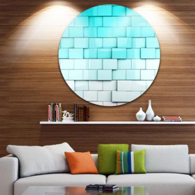 Design Art Blue Mosaic Cubes Disc Contemporary Artwork on Circle Metal Wall Art