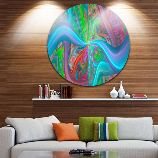 Design Art Blue Green Fractal Curves Abstract Round Circle Metal Wall Art
