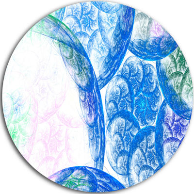 Design Art Blue White Dramatic Clouds Abstract Round Circle Metal Wall Decor