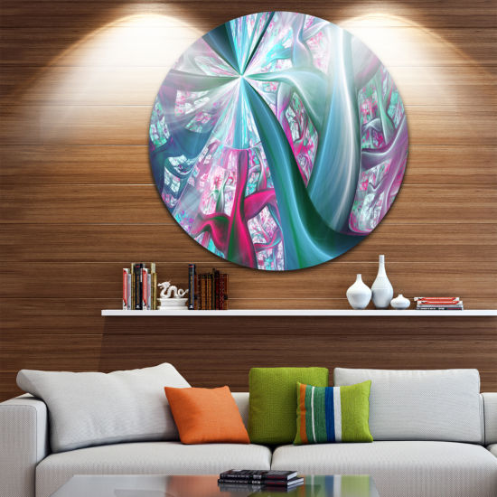 Design Art Blue Pink Fractal Plant Stems AbstractRound Circle Metal Wall Art