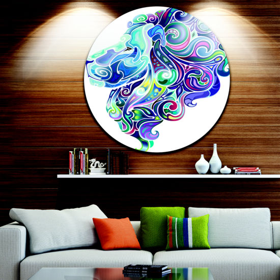 Design Art Blue Lion Abstract Art Disc Animal Circle Metal Wall Art