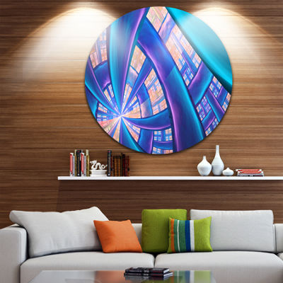 Design Art Blue Yellow Fractal Stained Glass Abstract Round Circle Metal Wall Art