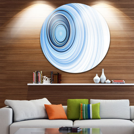 Design Art Blue Radio Waves Abstract Circle MetalWall Art