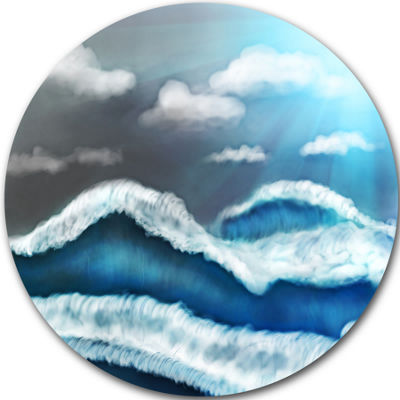 Design Art Blue Sky with Clouds Disc Landscape Circle Metal Wall Art