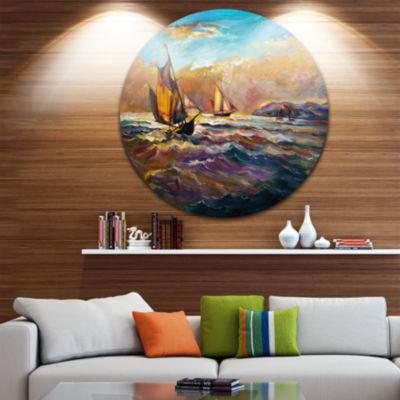 Design Art Boats in Roaring Sea Disc Seascape Circle Metal Wall Art