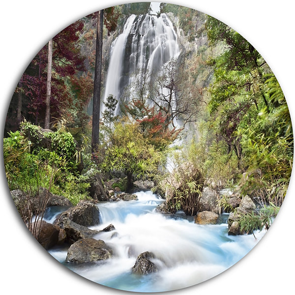 Design Art Blue Klonglan Waterfall Disc Photography Circle Metal Wall Art