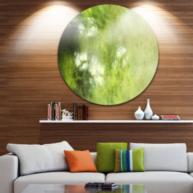Design Art Blur Green Sky with Stars Abstract Round Circle Metal Wall Decor