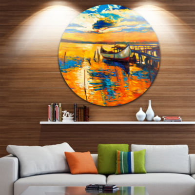 Design Art Boat and Jetty at Sunset Landscape Metal Circle Wall Art