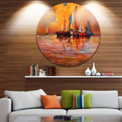 Design Art Boats and Ocean in Red Disc Seascape Circle Metal Wall Art