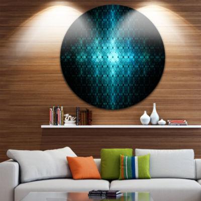 Design Art Blue Flash of Light on Radar Abstract Round Circle Metal Wall Decor Panel