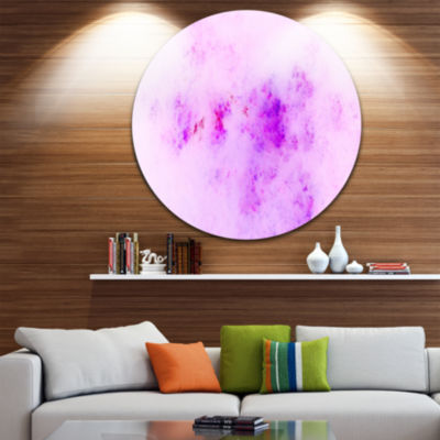 Design Art Blur Light Pink Sky with Stars AbstractRound Circle Metal Wall Decor