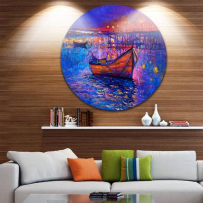 Design Art Boats and the City Disc Seascape CircleMetal Wall Art