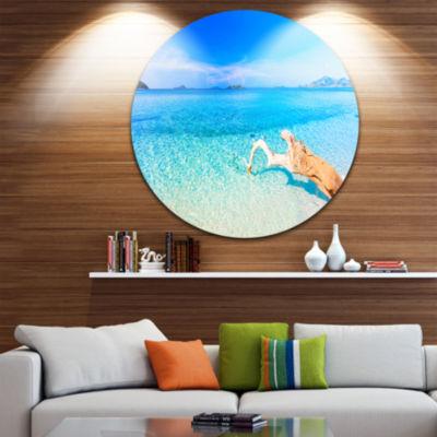 Design Art Blue Tropical Beach Panorama Disc Photography Circle Metal Wall Art