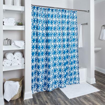 Rizzy Home Klara Cotton Geometric Shower Curtain