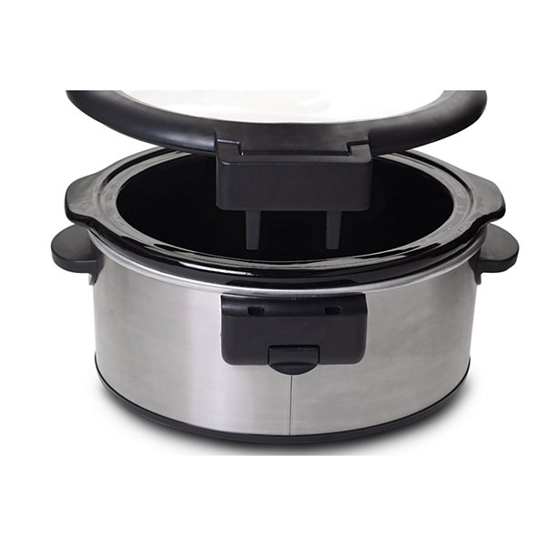 Elite MST-6013D 6-Quart Stainless Steel Slow Cooker with Red LED