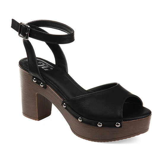 Journee Collection Womens Lorica Buckle Open Toe Clogs