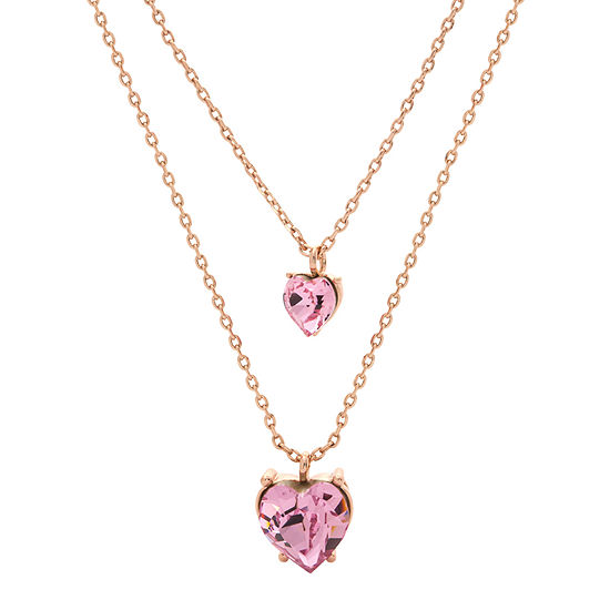 Sparkle Allure 14k Rose Gold Over Brass Pink Crystal Heart Double Pendant Necklace Made With Swarovski Elements