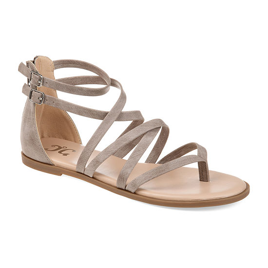 Journee Collection Womens Zailie Criss Cross Strap Flat Sandals
