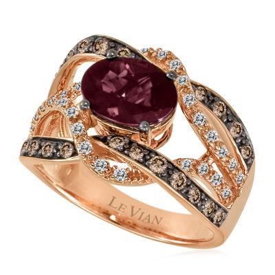 Le Vian Grand Sample Sale™ Raspberry Rhodolite® and Chocolate & Vanilla Diamonds™ Ring in 14K Strawberry Gold®
