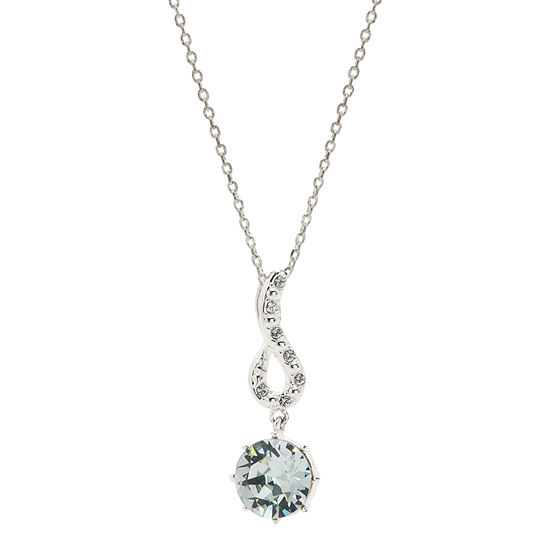 Sparkle Allure Blue Crystal Pure Silver Over Brass 18 Inch Cable Pendant Necklace