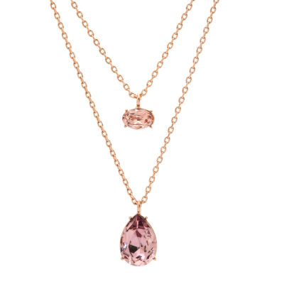 City Rocks Swarovski Crystal Oval And Tear Drop Womens Lab Created Pink Crystal 14k Rose Gold Over Brass Double Pendant Necklace