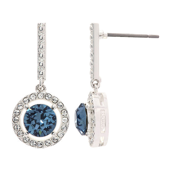 Sparkle Allure 1 Pair Blue Pure Silver Over Brass Drop Earrings