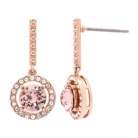 Sparkle Allure 18k Rose Gold Over Brass Pink Crystal Drop Earrings Made With Swarovski Elements