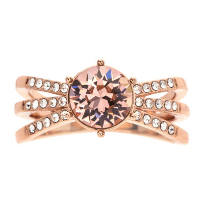 City Rocks Womens Pink 14k Rose Gold Over Brass Cocktail Ring