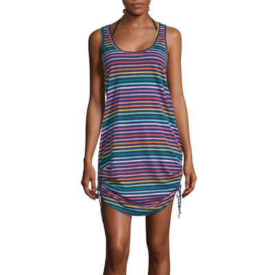 City Streets Striped Dress Swimsuit Cover-Up Juniors