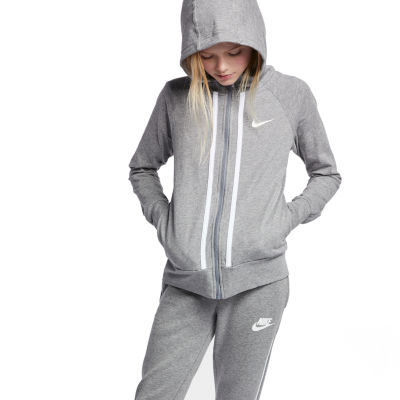 Nike Long Sleeve Full-Zip Jersey Hoodie - Big Kid Girls 7-16