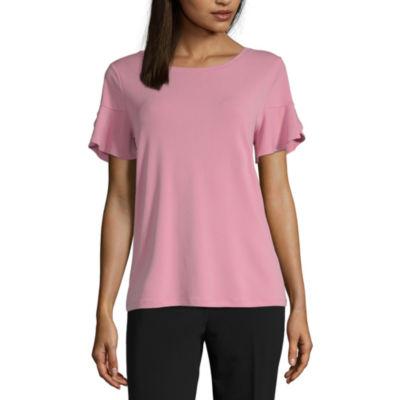 Worthington-Womens Round Neck Short Sleeve T-Shirt Petite