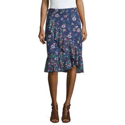 Liz Claiborne Womens High Waisted Midi Wrap Skirt
