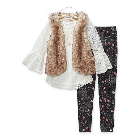 Knit Works Little & Big Girls 3-pc. Legging Set, Medium , White