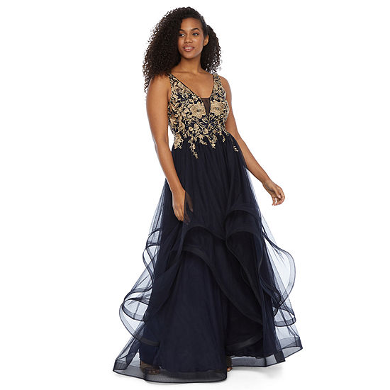City Triangle Sleeveless Applique Embellished Ball Gown-Juniors