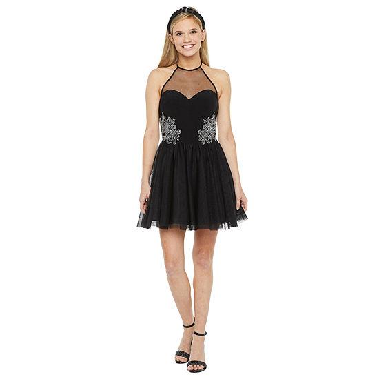 DJ Jaz Sleeveless Applique Party Dress-Juniors