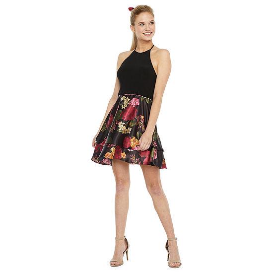 DJ Jaz-Juniors Sleeveless Floral Fit & Flare Dress