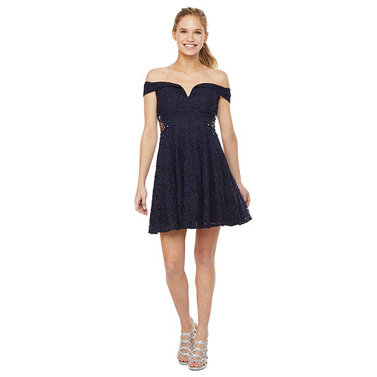 City Triangle Prom Off the Shoulder Beaded Party Dress-Juniors
