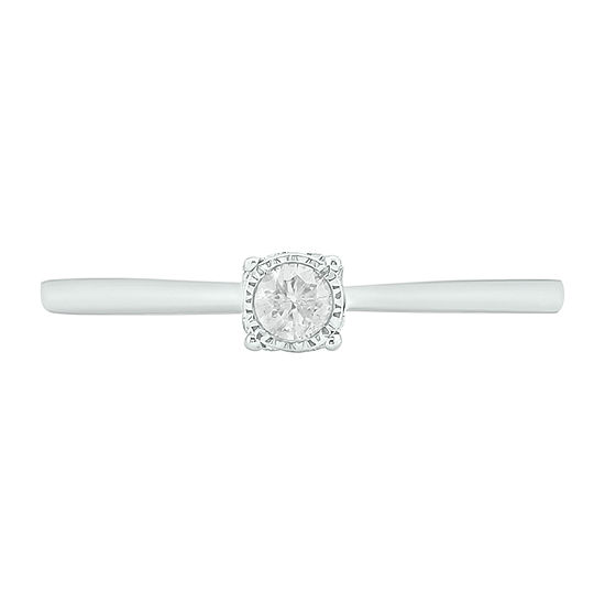 Womens 1/6 CT. T.W. Genuine White Diamond 14K Gold Solitaire Cocktail Ring