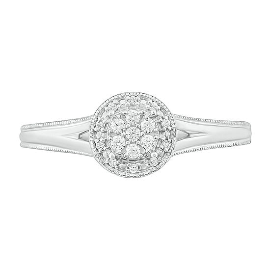 Womens 1/10 CT. T.W. Genuine White Diamond Sterling Silver Promise Ring