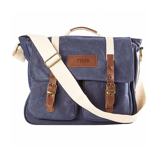 Cathy's Concepts Personalized Waxed Canvas Messenger Bag