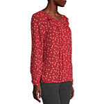 Liz Claiborne Womens Key Hole Neck Long Sleeve Blouse