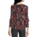 Liz Claiborne Womens Key Hole Neck 3/4 Sleeve Blouse