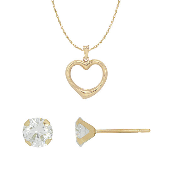 White Cubic Zirconia 10K Gold Heart 2-pc. Jewelry Set