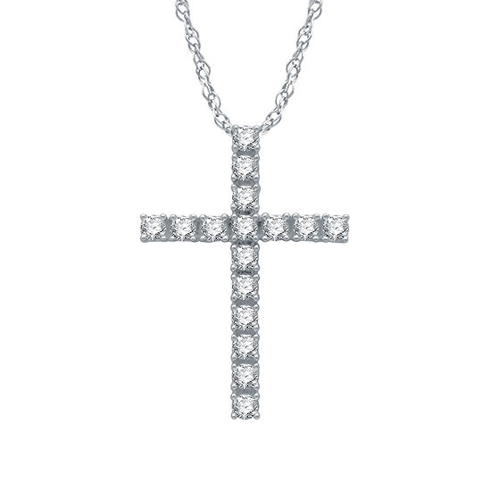 Womens 1/2 CT. T.W. Genuine Diamond Sterling Silver Cross Pendant Necklace