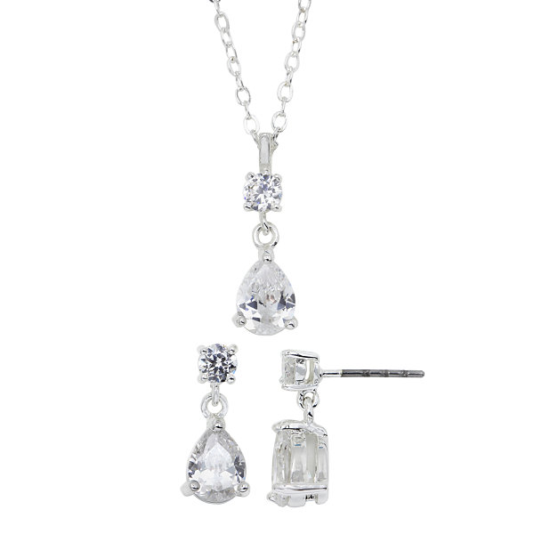 Sparkle Allure��� Pure Silver-Plated Cubic Zirconia Pendant Necklace & Earring Set