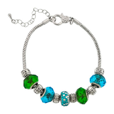 Dazzling Designs™ Silver-Plated Blue & Green Glass Bead Bracelet